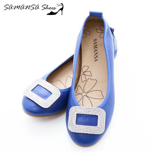 SAMANSA   製 全真皮 氣質釦戴鑽鑲娃娃鞋~~ #14203 水漾藍