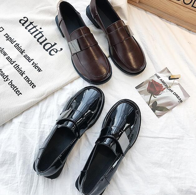 牛津鞋-小皮鞋女夏韓版休閒鞋複古女鞋牛津平底一腳蹬樂福鞋原宿單鞋