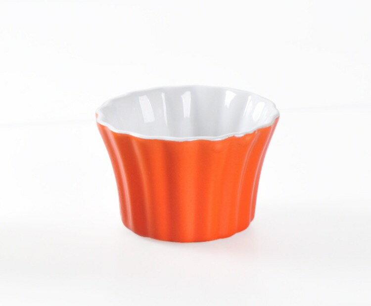 HOMA 彩色廚房 條紋向口彩色烤盅 烘培器材 蛋糕 橘紅色一個