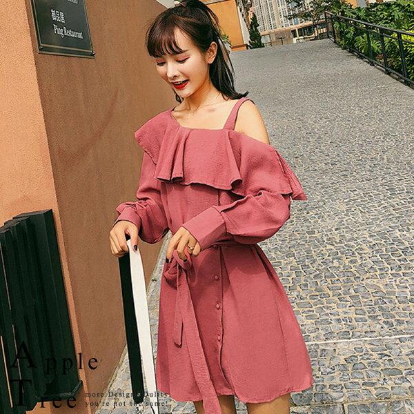 AT日韓-韓國,荷葉邊單肩吊帶小洋裝【803063】