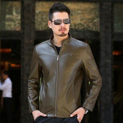 皮衣夾克外套-秋冬立領純色薄款男夾克4色73pn7【獨家進口】【米蘭精品】 2