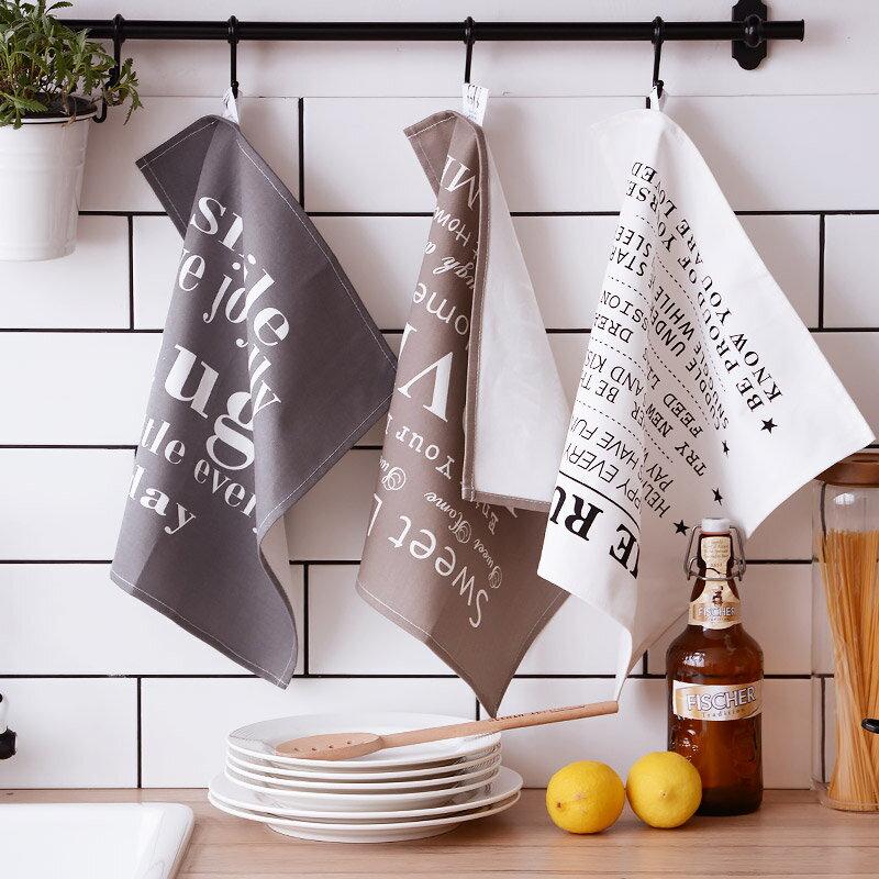 灰色簡約餐巾 加厚棉麻布藝餐墊 英文印花 桌布 桌墊 單售