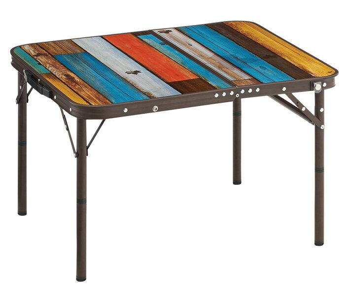 【鄉野情戶外用品店】 LOGOS |日本| 彩色仿舊木紋小折桌/膳食桌 折合桌 戶外桌/LG73189035
