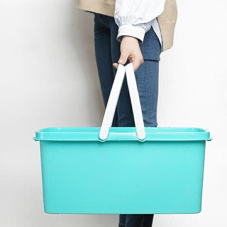 拖把桶 長方形厚洗拖把桶家用儲水平板塑料擠水海綿拖把帶滑【2021年終盛會】