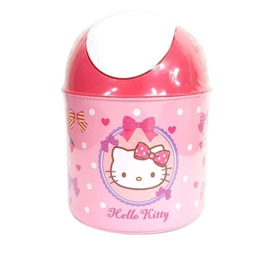 X射線【C071723】Hello Kitty 桌上型垃圾桶-粉,垃圾筒/雜物桶/水桶/分類桶/資源回收桶/廚餘桶
