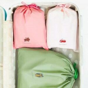 美麗大街【BF271E01】激推! 超值旅行衣物整理束口耐用收納袋 防塵袋卡通圖案雜物抽繩袋(四入)
