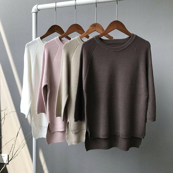 圓領針織衫毛衣純色打底衫樂天時尚館。現貨。[全店免運]