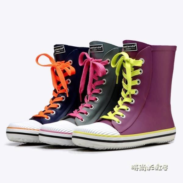 好雨時節 春夏款時尚女式雨鞋厚底系帶中筒女防水防滑橡膠雨靴女