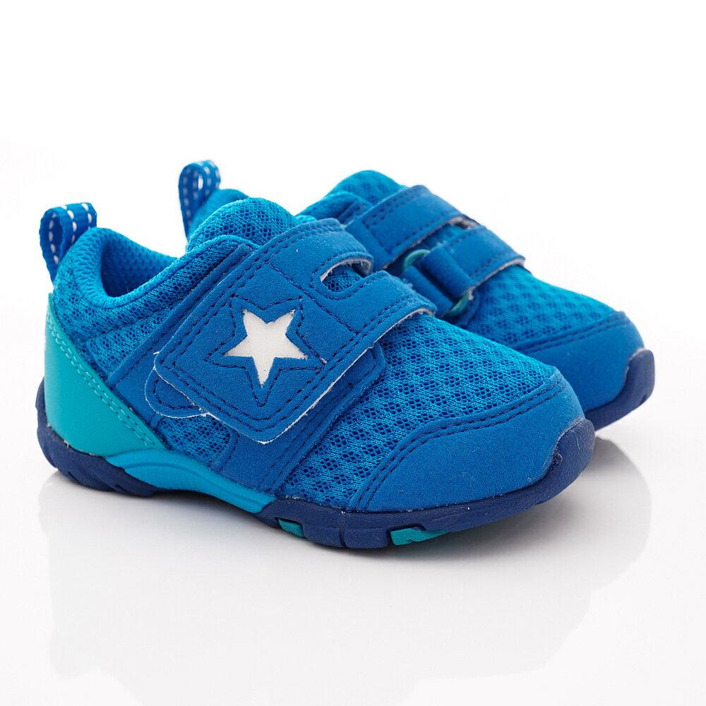 日本月星Moonstar機能童鞋四大機能系列寬楦頂級學步鞋款887水藍(寶寶段) 618購物節