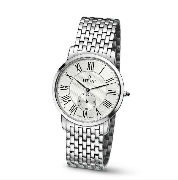 TITONI瑞士梅花錶TQ52917S-375 Slenderline系列羅馬纖薄時尚腕錶/白面38mm