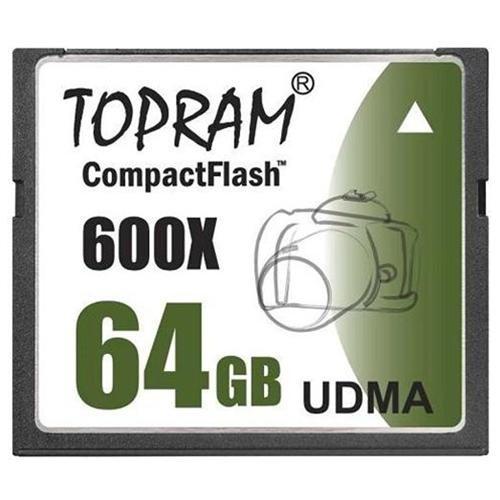 TOPRAM 64GB 64G CF CompactFlash Card 600X Extreme Fast UDMA 6 RAW 0