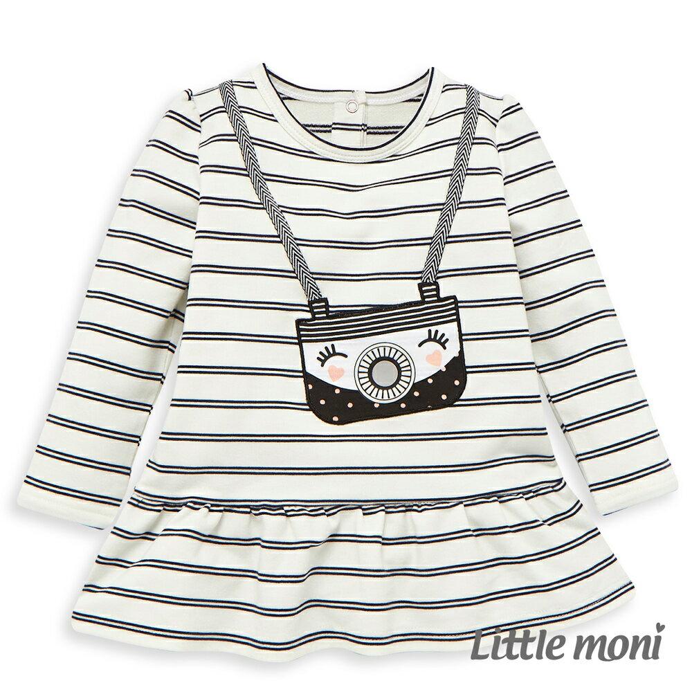 Little moni 荷葉襬相機印圖上衣-白色 0