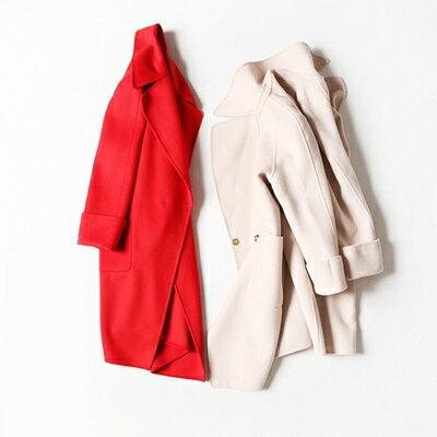 【米蘭秀】【奇珍館】:毛呢外套羊毛大衣-純色寬鬆百搭英倫風女外套2色73op8【獨家進口】【米蘭精品】