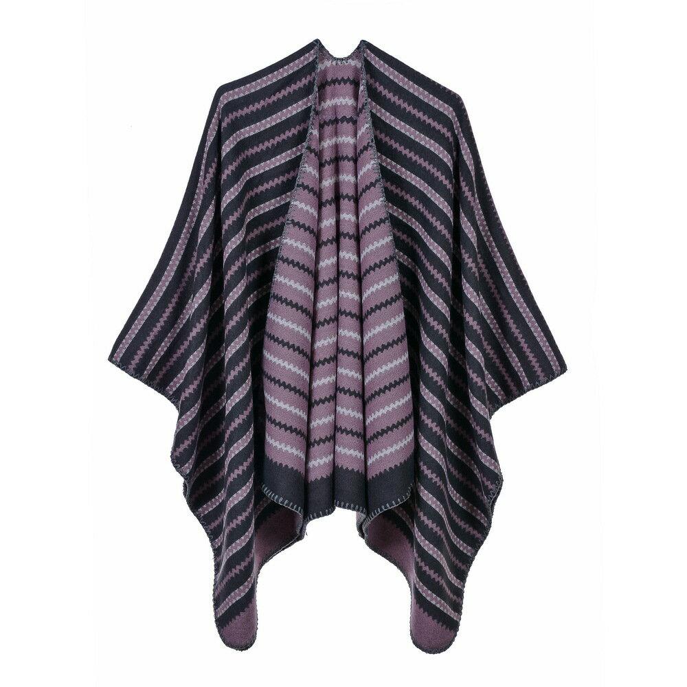 披肩仿羊絨斗蓬-波浪條紋雙面包邊女圍巾5色73we35【 】【米蘭 】