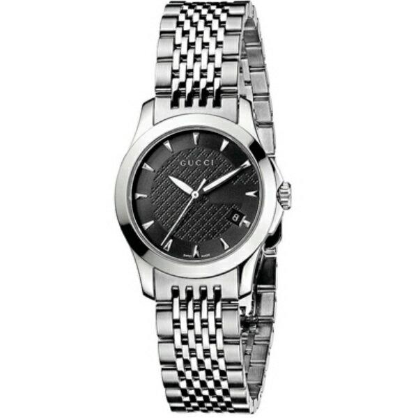 Gucci 古吉YA126502小碼經典G面時尚腕錶/黑面27mm