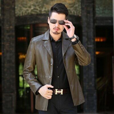 ★皮衣夾克外套-西裝領純色商務春秋男夾克4色73pn10【獨家進口】【米蘭精品】 0