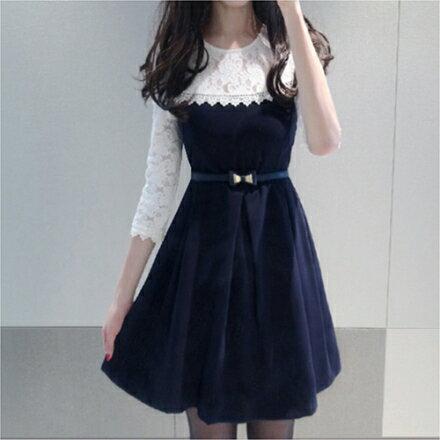 學院風假兩件中長款拼接圓領蕾絲公主裙連身裙(S~2XL【g3189c2100】