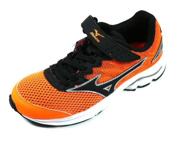 [陽光樂活] MIZUNO 美津濃 親子人氣鞋款 WAVE RIDER 20 Jr.V (童) 黏扣帶運動鞋 - K1GC173109 橘/黑