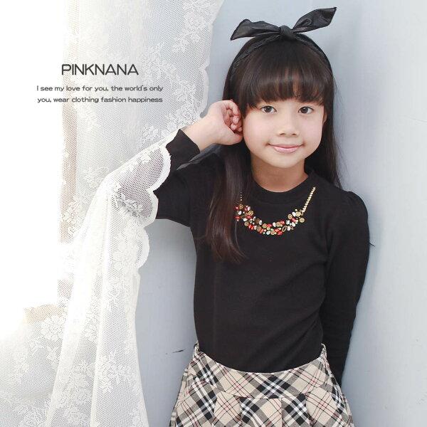 PINKNANA童裝女大童寶石質感上衣內搭衣32122