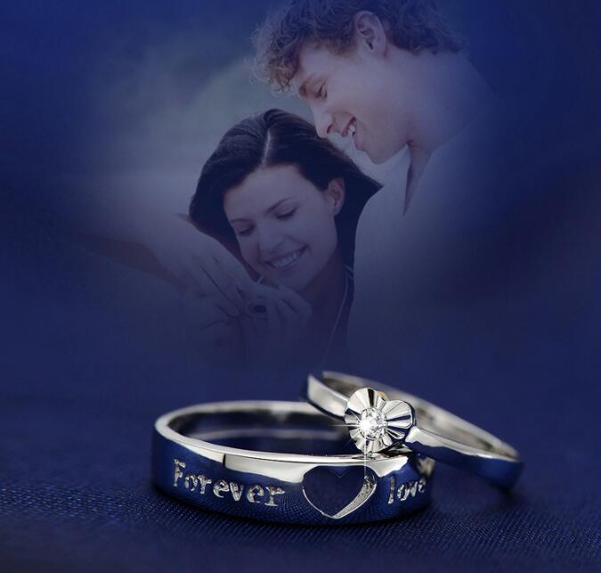 白銅鍍白金高檔戒指我心永恆開口情侶指環對戒