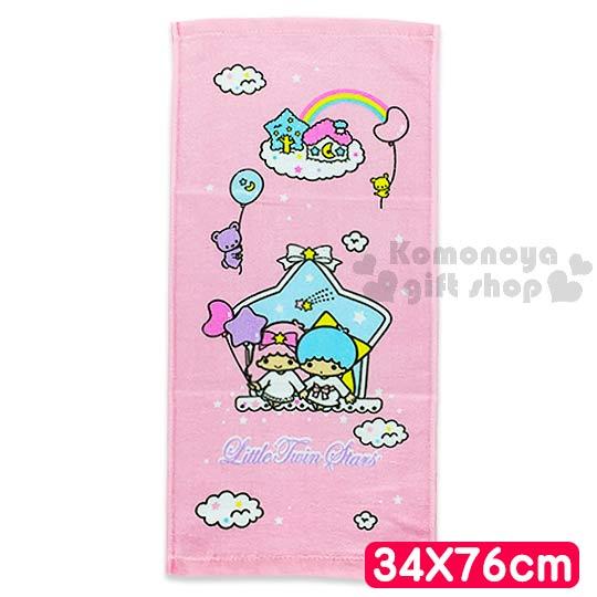 〔小禮堂〕雙子星 長毛巾《M.粉.側坐.星型窗.雲.彩虹.34x76cm》