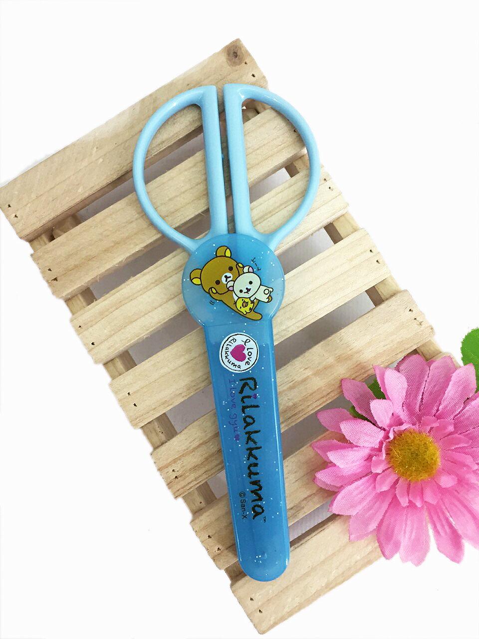 【真愛日本】15061500003 多功能攜帶型剪刀-藍 SAN-X 懶熊 奶妹 奶熊 拉拉熊 文具 辦公 正品 限量 預購