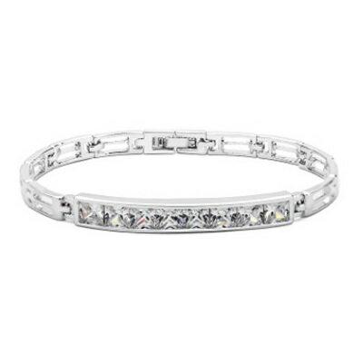 純銀手鍊 鍍白金鑲鑽手環 ~氣質優雅閃亮耀眼生日情人節 女飾品73cv41~ ~~米蘭 ~