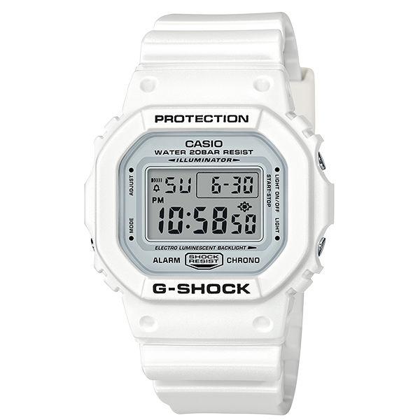 CASIO 卡西歐G-SHOCK DW-5600MW-7 白色主題數字時尚腕錶/48.9*42.8mm
