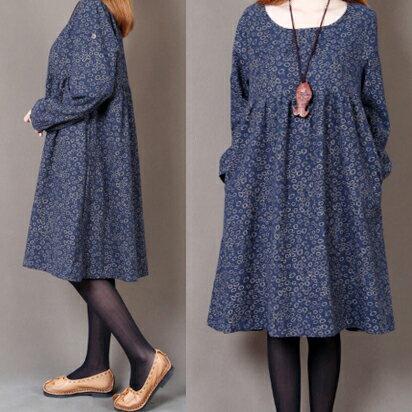 圓領小碎花寬鬆長袖連身裙(3色)