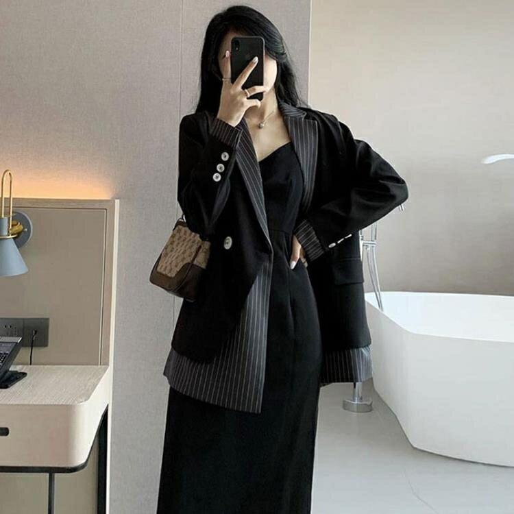 西裝外套 黑色小西裝外套女2020夏季新款韓版寬鬆設計感小眾條紋西服春秋裝【全館免運 限時鉅惠】