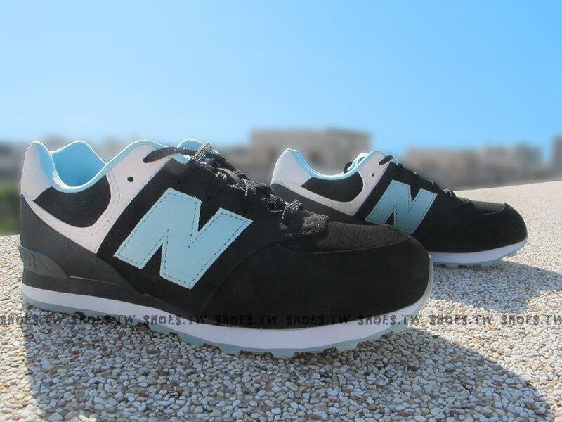 Shoestw【KL574BXG】NEW BALANCE 574 復古慢跑鞋 大童鞋 黑藍 女生可穿 寬楦