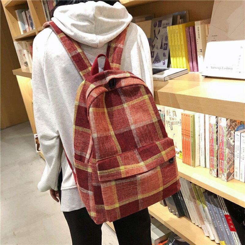 後背包帆布雙肩包-棉麻格子休閒時尚女包包3色73wy18【獨家進口】【米蘭精品】 1