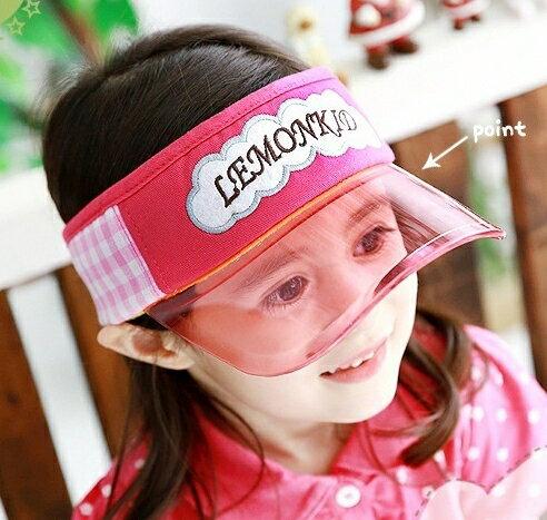 Lemonkid◆字母泡泡格紋拼布 防紫外線好視線兒童防曬遮陽空頂帽~粉色