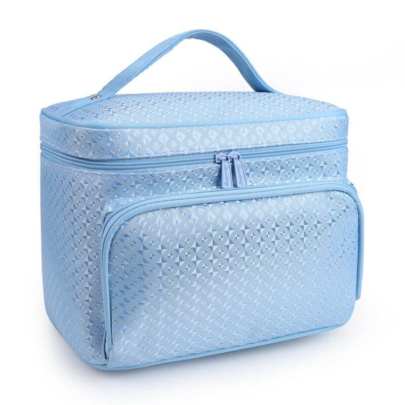 韓國化妝包大容量收納包菱格洗漱包手提包-花藍色