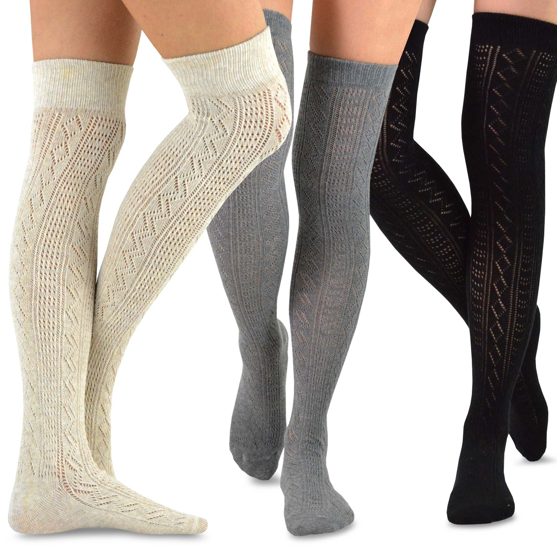 7d09a5f70a702 TeeHee Women's Fashion Over the Knee High Socks - 3 Pair Combo (Dedicated  Pattern)