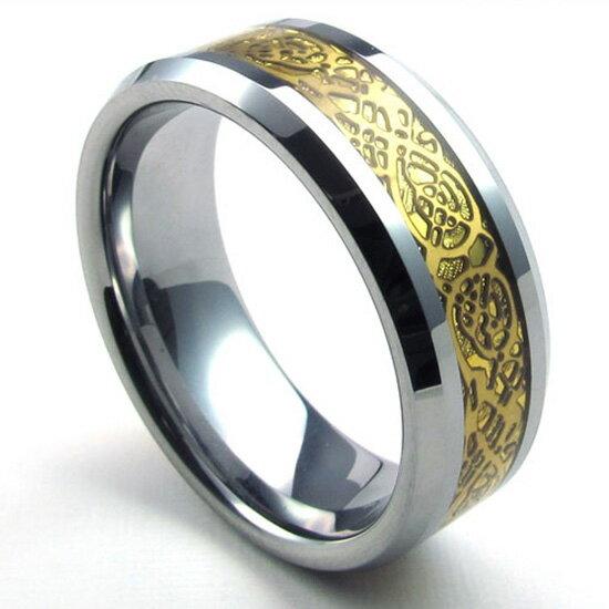 QBOX Fashion 飾品:《QBOX》FASHION飾品【R10022662】精緻個性招財金花卉圖騰鎢鋼戒指戒環