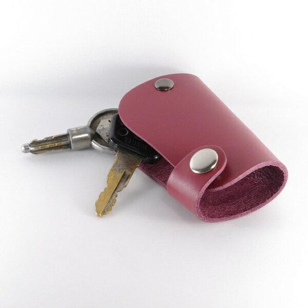 鑰匙圈 真皮 皮革 汽車鑰匙包 短版 酒紅~Mark Honor