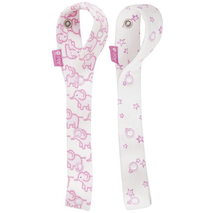 【HELLA 媽咪寶貝】英國 JoJo Maman BeBe 嬰幼兒玩具鍊/奶嘴鍊 兩入組 粉嫩大象 (JJLF-04)