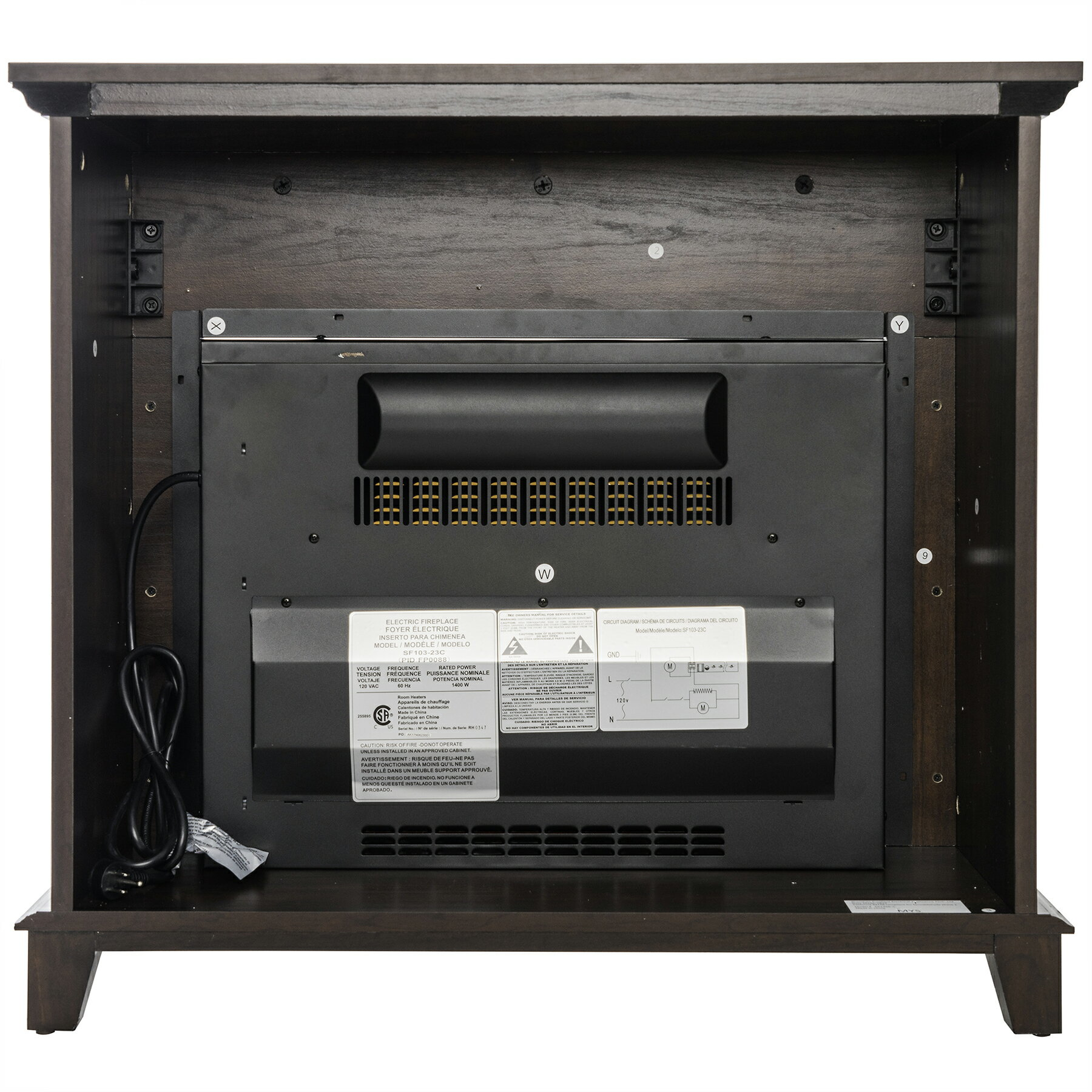 "32"" Freestanding Brown Wooden Finish Electric Fireplace Stove Heater 4"