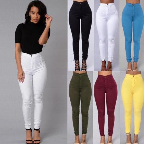 3666989a25b3 Women Pencil Stretch Casual Look Denim Skinny Jeans Pants High Waist  Trousers 0