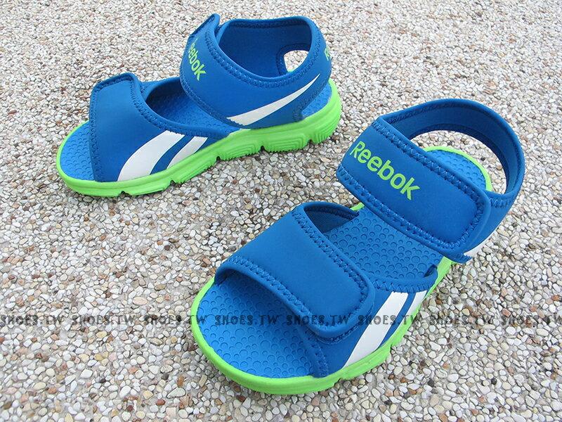 Shoestw【V70544】Reebok 涼鞋 小童鞋 免綁帶 藍 綠底