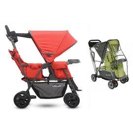 【淘氣寶寶】美國JoovyCabooseUltralightGraphite輕量級雙人推車兄弟車【紅色+第二座椅+專用雨罩】