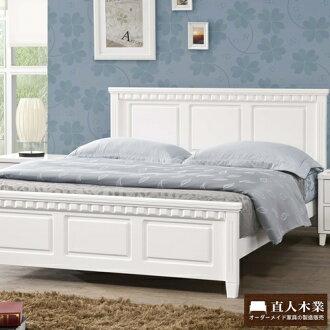 【日本直人木業】CARO白色北歐實木標準5尺雙人床組(不含床墊)