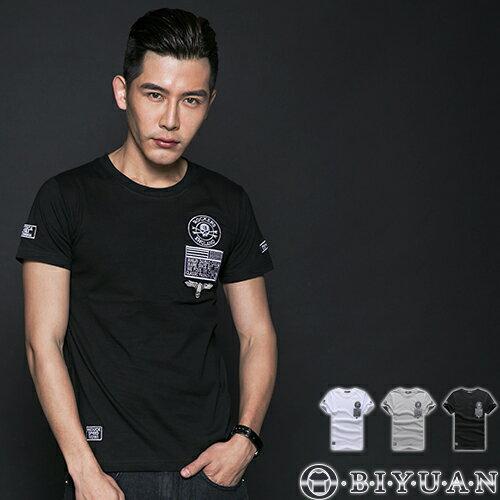 短袖上衣【L35110】OBIYUAN韓版軍風老鷹徽章貼布短袖T恤 共3色