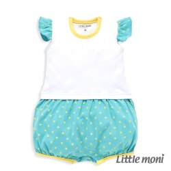 Little moni 甜美女孩拼接星星連身褲 - 白色