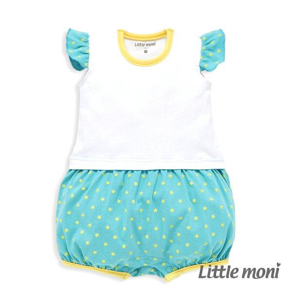 Littlemoni甜美女孩拼接星星連身褲-白色