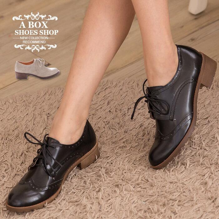 ★399免運★格子舖*【KIT827】MIT台灣製 復古英倫雕花 學院風尖頭綁帶牛津鞋粗低跟短靴裸靴 2色
