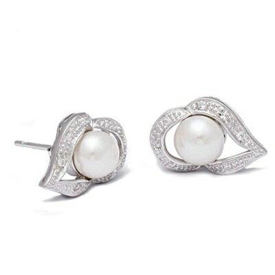 ~925純銀耳環珍珠耳飾~高貴大方典雅 母親節生日情人節 女飾品73dm265~ ~~米蘭