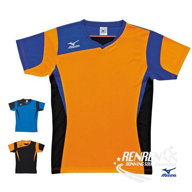 美津濃 MIZUNO 男女排球短袖T恤 (黑藍橘) 吸汗快乾 V領T恤【 胖媛的店 】