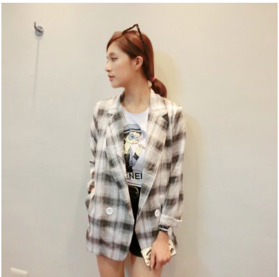 SEVENTH HOME~~韓國 黑色格子棉麻西裝外套~3612~ ~  好康折扣